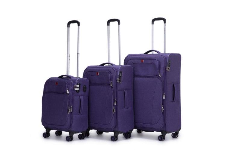 סט 3 מזוודות SWISS בד קלות וסופר איכותיות - צבע סגול כהה