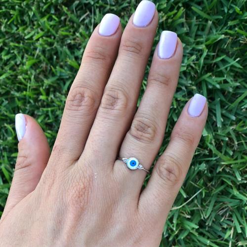 טבעת עין  עגולה כחול ולבן כסף 925