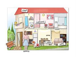 ערכה ללימוד חלקי הבית באנגלית | House Poster Game XL
