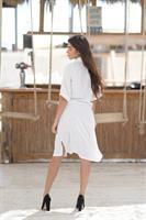 שמלת פסים דקים לבנה OVER SIZE