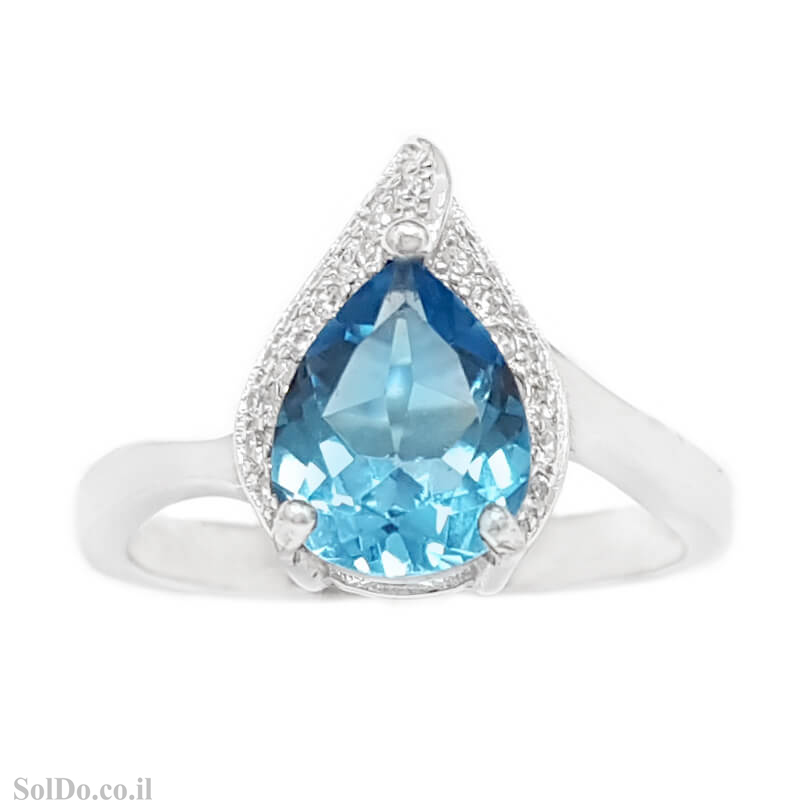 טבעת מכסף משובצת אבן טופז כחולה וזרקונים RG6129 | תכשיטי כסף 925 | טבעות כסף