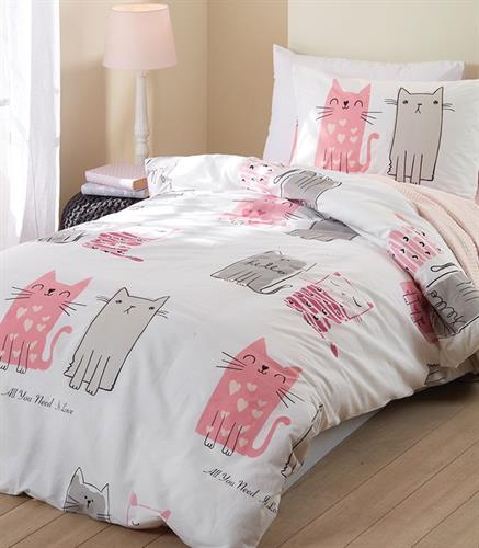 סט מלא מיטה וחצי דגם חתולים