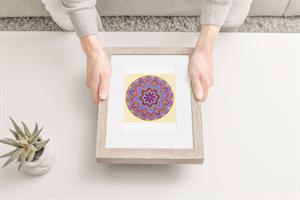 """מדבקת קנבס מנדלת """"זרע החיים"""" - מנדלה מקורית בעבודת יד מודפסת על מדבקת קנבס"""