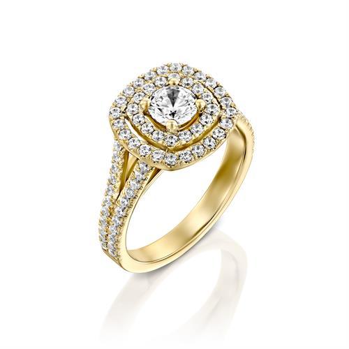 טבעת אירוסין זהב צהוב 14 קראט משובצת יהלומים CUSHION DOUBLE HALOW TWO ROWS