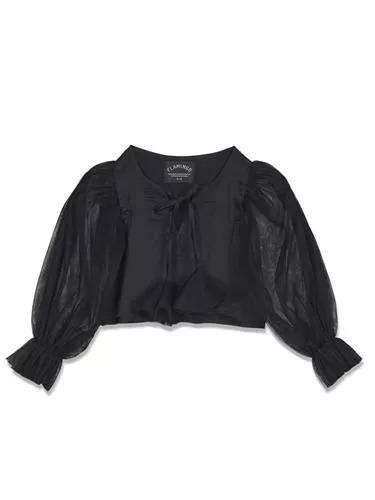 חולצה שרוול טול שחור FLAMINGO