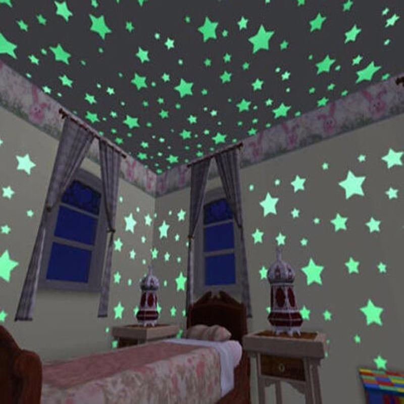 חבילה של 100 מדבקות זוהרות לקיר בצורת כוכבים