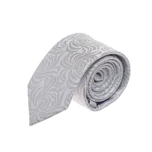 עניבה חתנים לבן פרח גדול כסוף