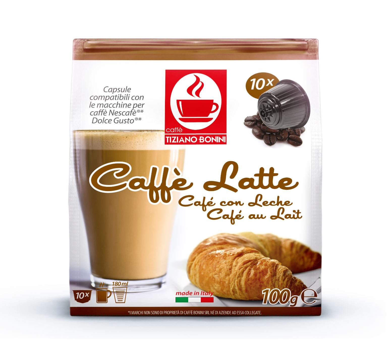 10 קפסולות קפה בוניני CAFFE LATTE תואם דולצ'ה גוסטו