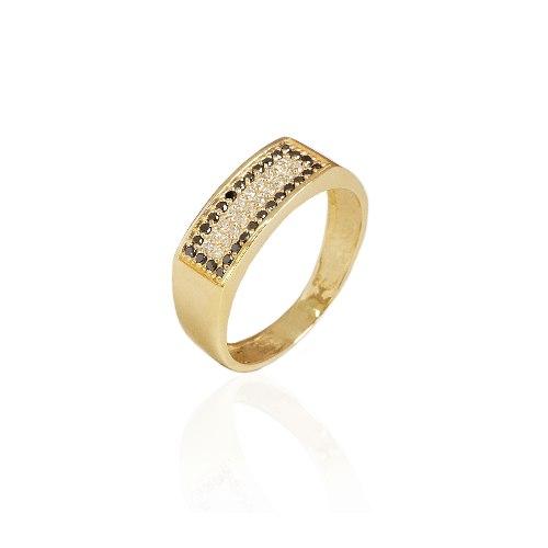 טבעת זהב מלבנית משובצת יהלומים לבנים ושחורים