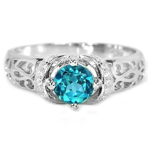 טבעת מכסף משובצת אבן טופז כחולה וזרקונים RG8427 | תכשיטי כסף 925 | טבעות כסף