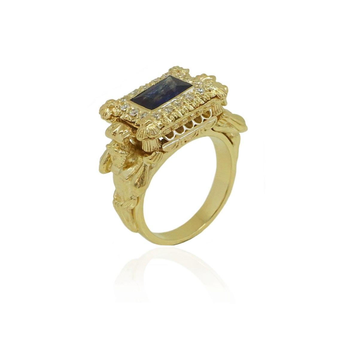 טבעת זהב הרקולס טבעת זהב לגבר אבן ספיר