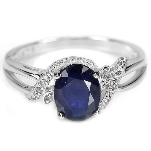 טבעת כסף משובצת אבן ספיר כחולה וזרקונים RG5746 | תכשיטי כסף 925 | טבעות כסף