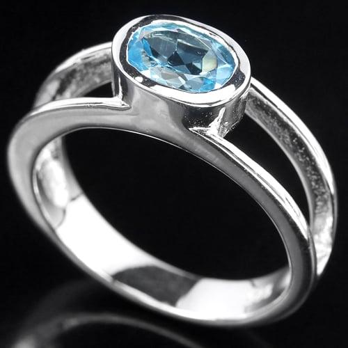 טבעת כסף משובצת טופז כחול וזרקונים RG1483 | תכשיטי כסף 925