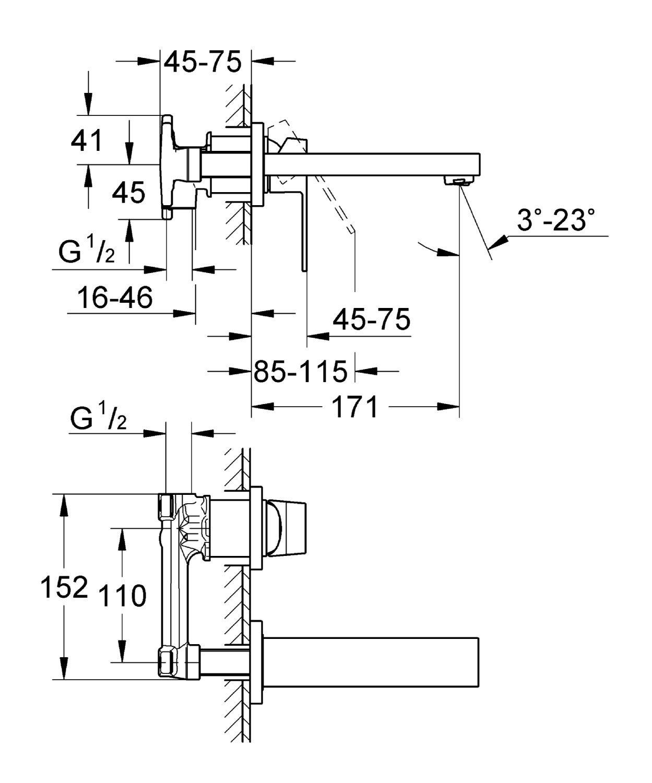 ברז קיר תוצרת GROHE סדרת יורוקיוב דגם 19895000