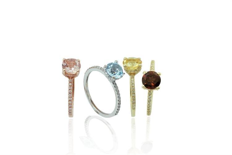 טבעת אבן חן ויהלומים 0.30 קראט