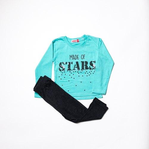 חליפת בנות לייקרה STARS  תכלת