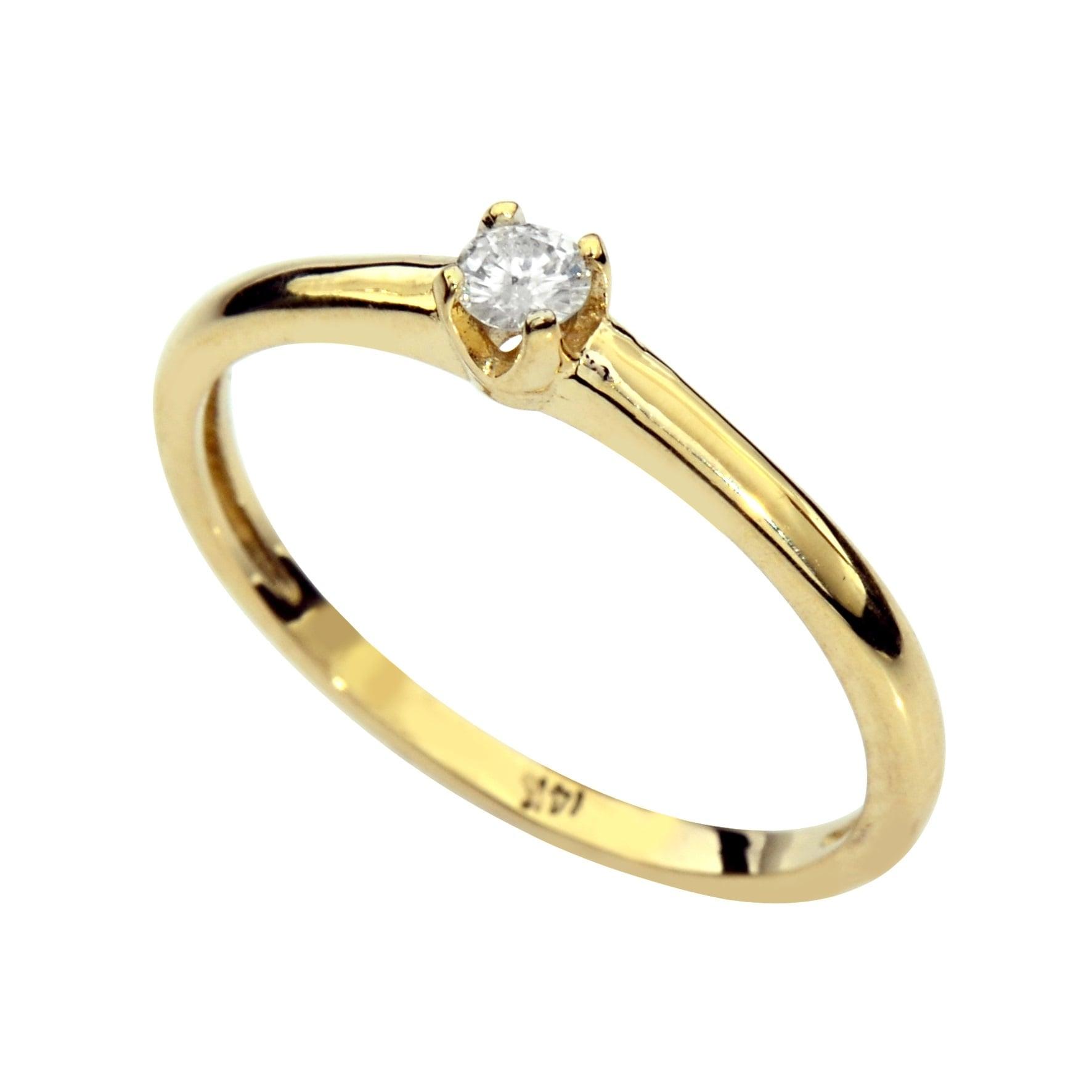 טבעת זהב 14K משובצת יהלומים 0.15 קראט