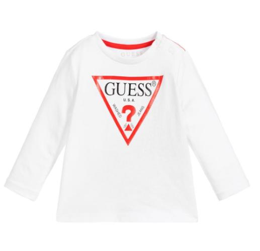 חולצת GUESS לבנה לוגו אדום - שרוולים ארוכים - NB - שנים