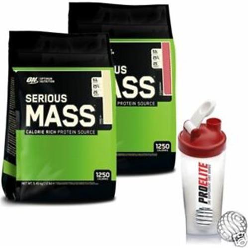 """זוג סיריוס מאס 5.5 ק""""ג - Optimum Nutrition Serious Mass - אופטימום נוטרישן+שייקר מתנה"""