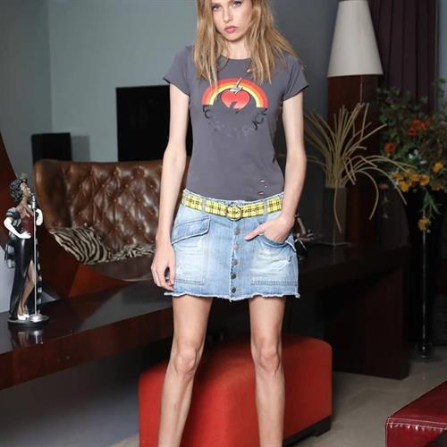חצאית ג'ינס כיסים חיצונים ANTIGO