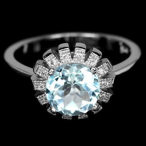 טבעת כסף משובצת אבן טופז כחול וזרקונים RG5582 | תכשיטי כסף 925 | טבעות כסף