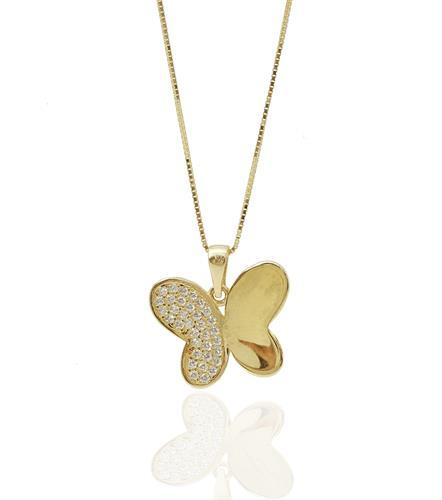 שרשרת פרפר זהב עדינה עם חצי כנף זרקונים נוצצים