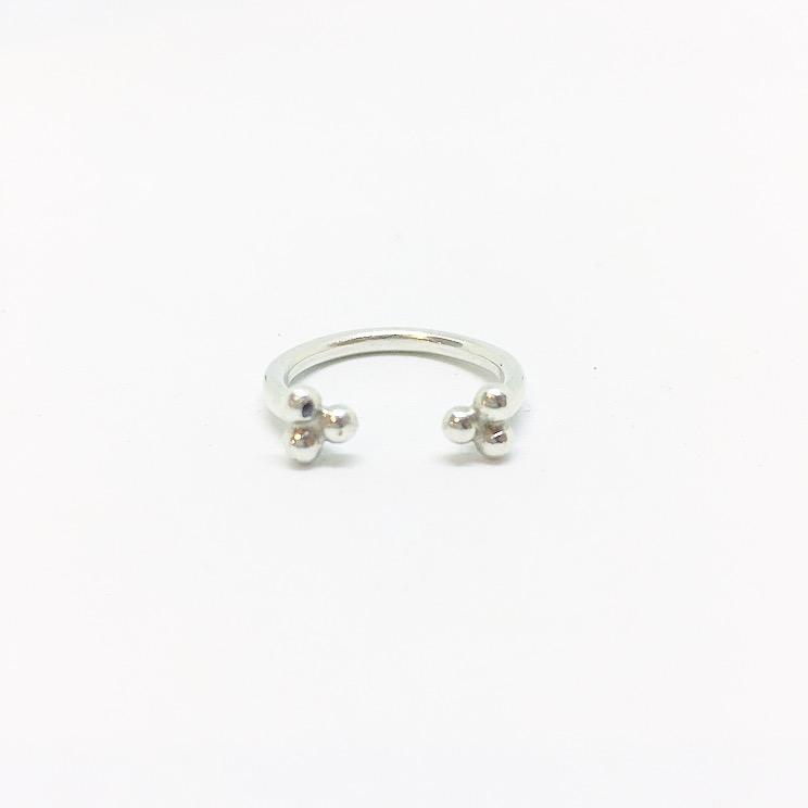 טבעת כדורים זרת פתוחה כסף