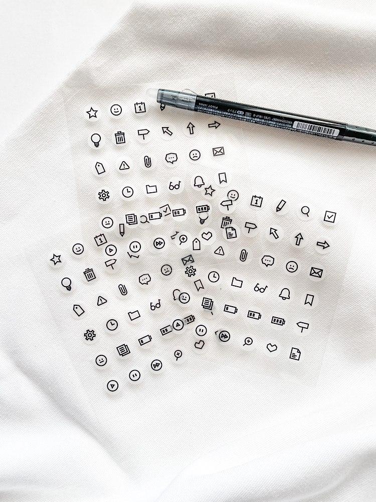 מדבקות מנימליסטיות שחור לבן של Suatelier- ארגון