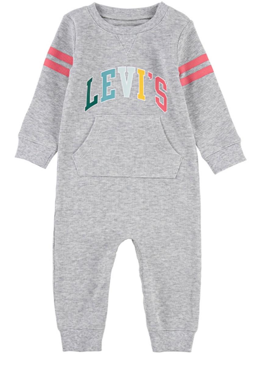 LEVIS אוברול אפור ורוד תינוקות מידות NB-9M