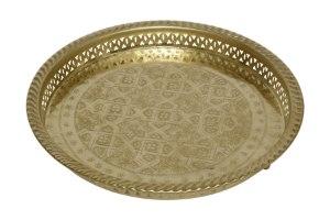 מגש מרוקאי זהב מתכת XL  מידות: 5X32
