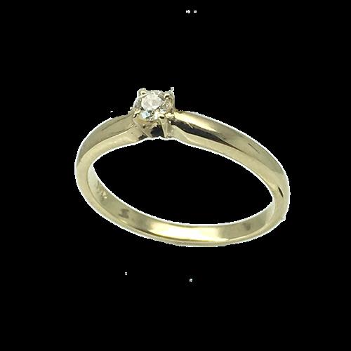 טבעת אירוסין זהב צהוב 14K יהלום מרכזי OP09160058308
