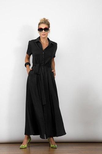 שמלת מקסי כפתורים שחורה