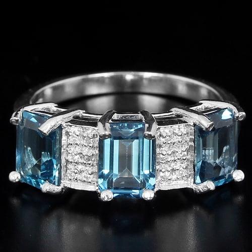 טבעת כסף משובצת טופז כחול וזרקונים RG1607 | תכשיטי כסף 925