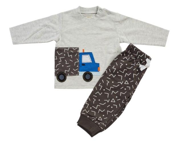 חליפת מעבר משאית אפור מלאנג' מכנס פרנצ׳ טרי