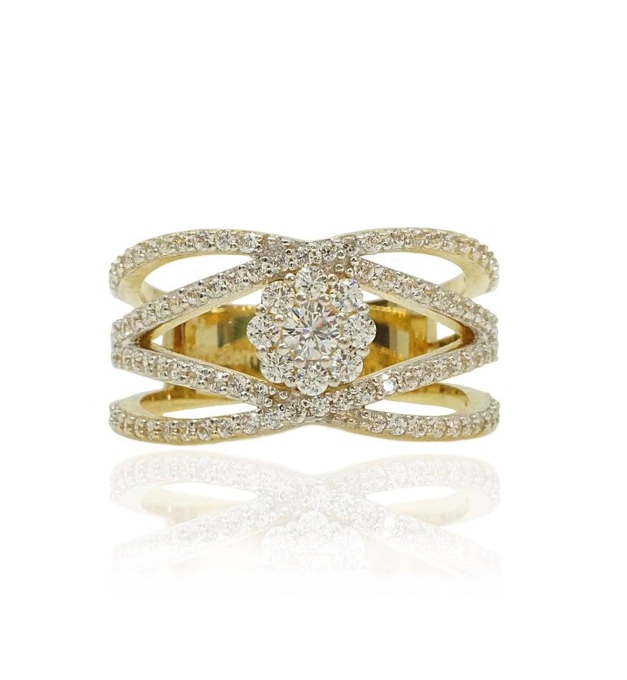 טבעת זהב רחבה עם זרקונים
