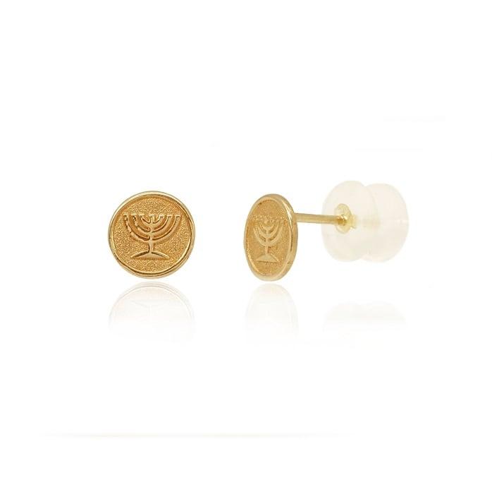 עגילי זהב כפתור עם סמל מנורה