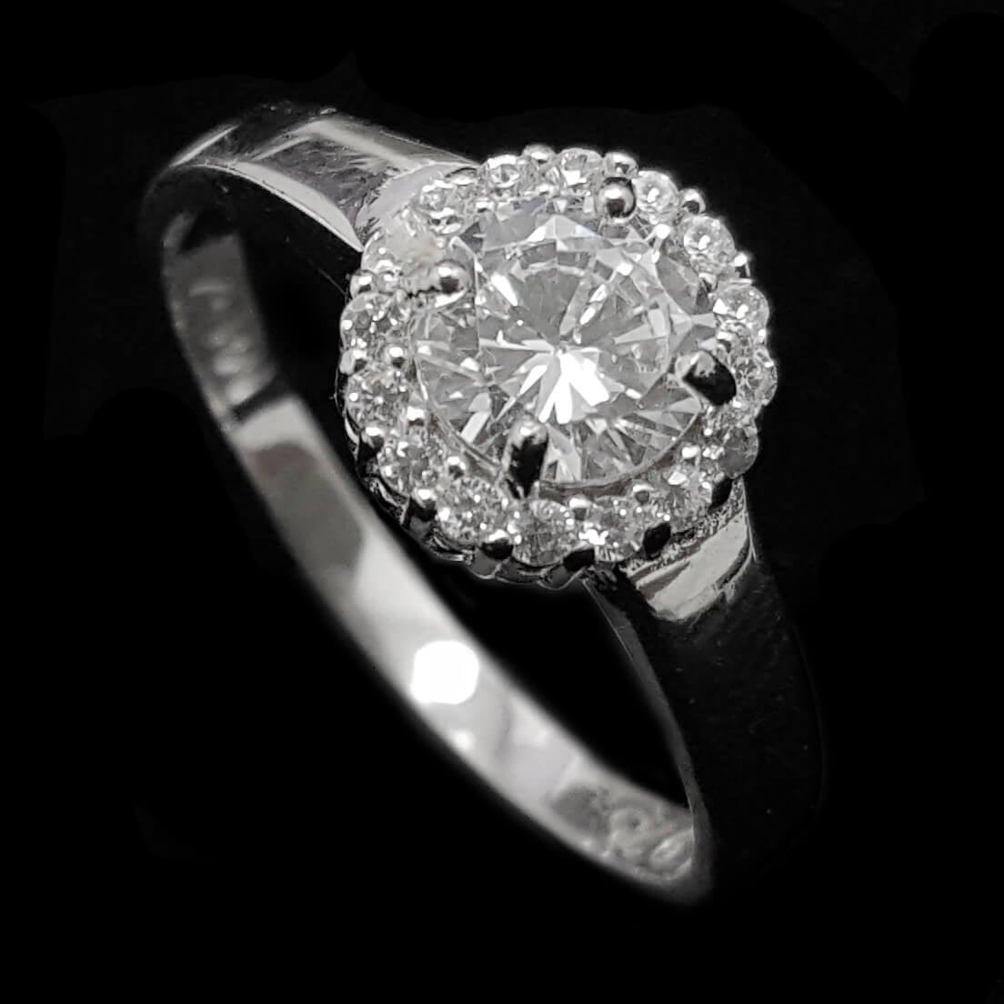 טבעת כסף משובצת זרקון סוליטר ואבני זרקון RG1525| תכשיטי כסף | טבעות כסף