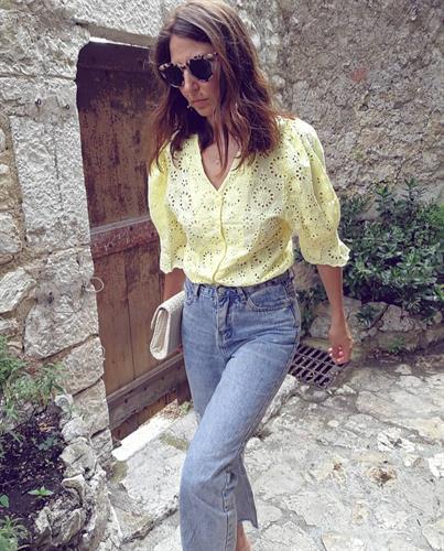 חולצת לין קרושה צהובה