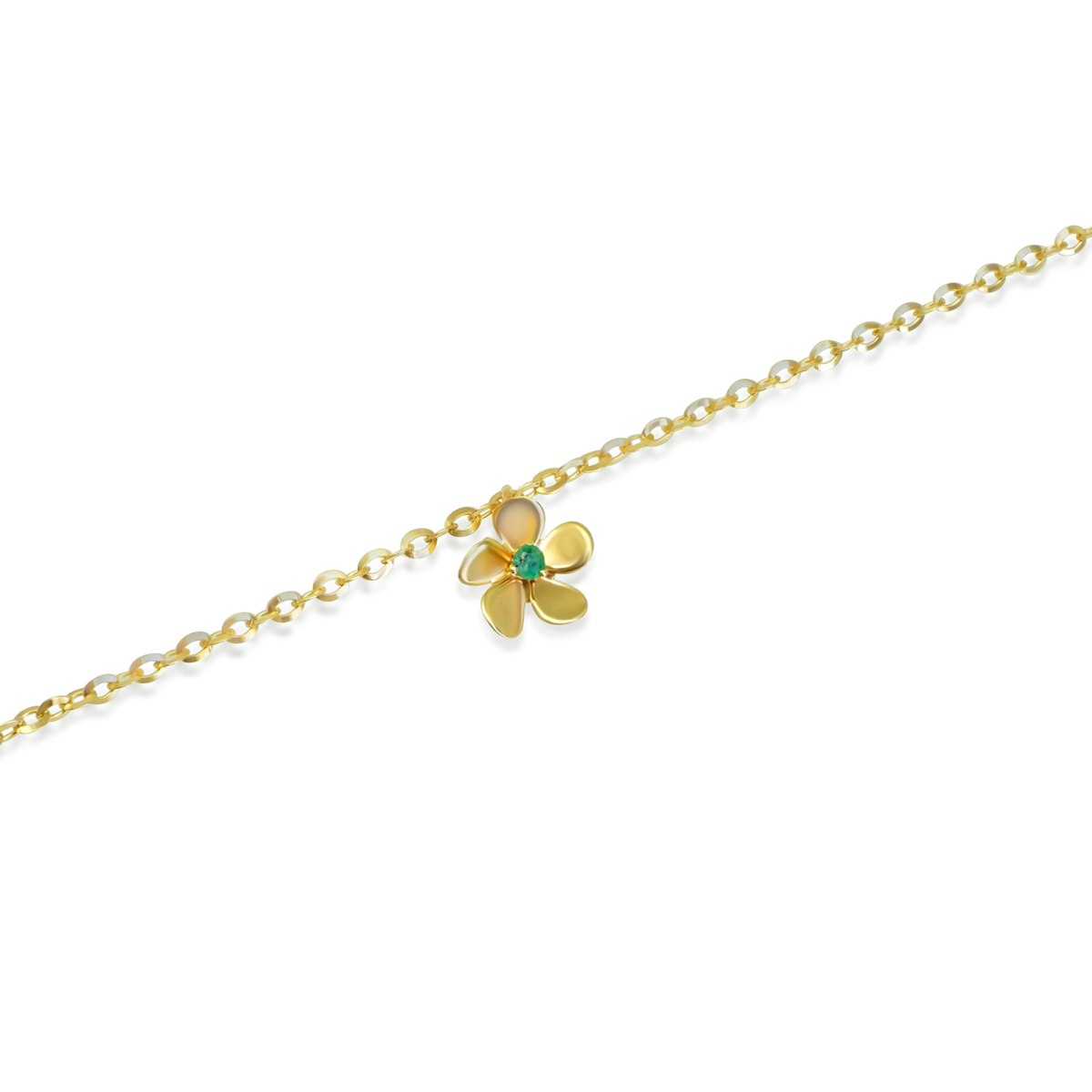 צמיד פרח זהב ואמרלד