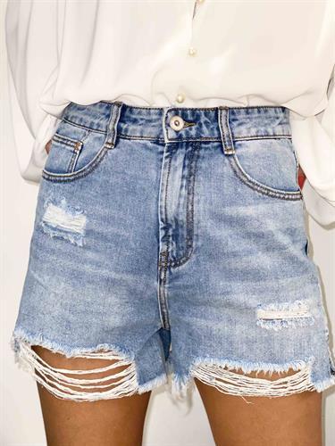 שורט ג'ינס גבוה קרעים גזורים