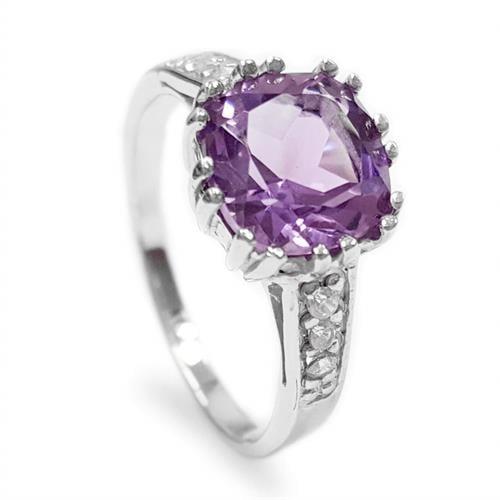 טבעת כסף משובצת אמטיסט סגול וזרקונים RG1509 | תכשיטי כסף 925 | טבעות כסף