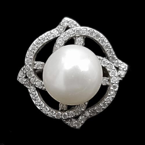 טבעת מכסף משובצת פנינה לבנה וזרקונים RG5535 | תכשיטי כסף 925 | טבעות עם פנינה