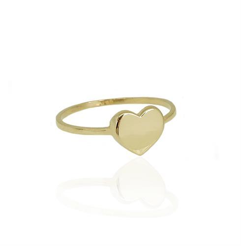 טבעת זהב לב לזרת (אופציה לחריטה)