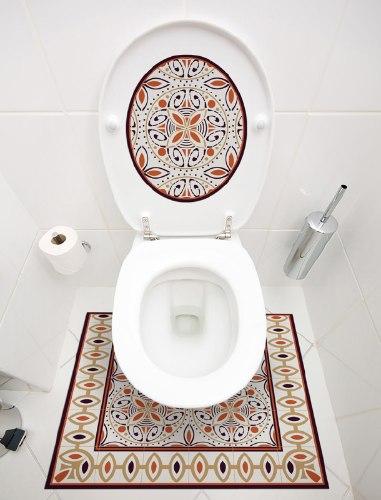 שטיחון ומדבקה לאסלה קינמון דגם 243