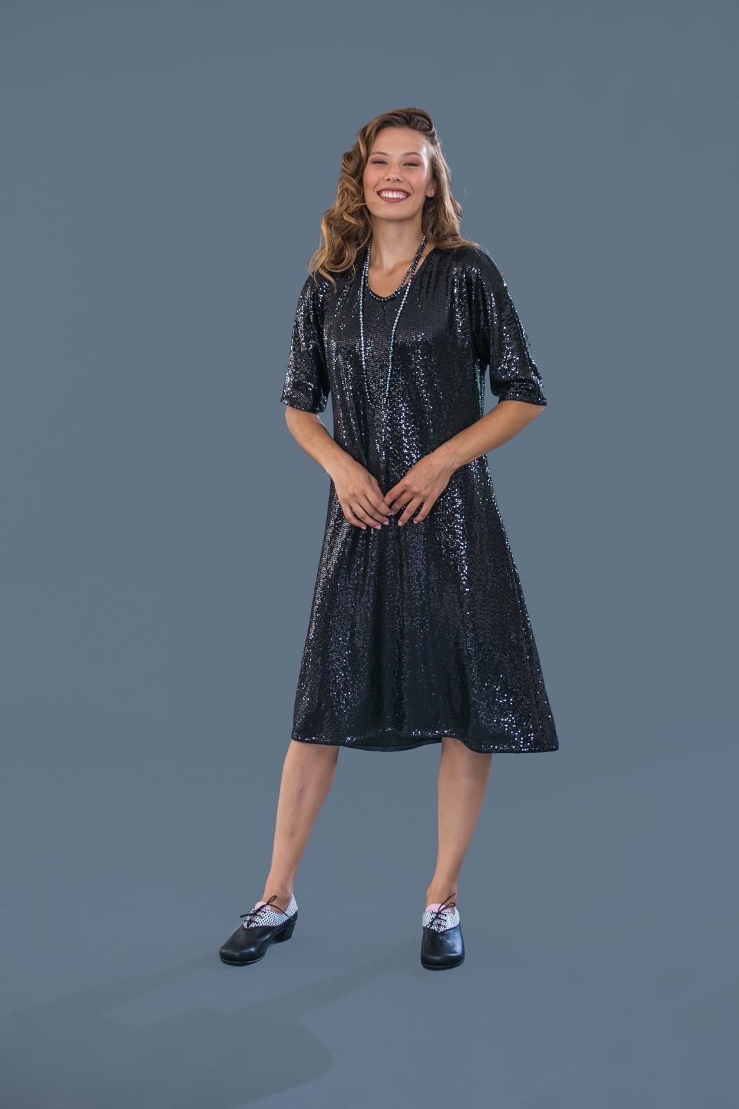 שמלת פייטים ערב שחורה
