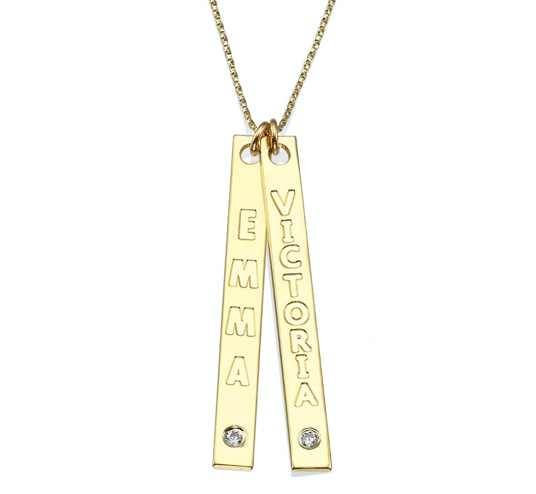 שרשרת זהב 14K עם שני מלבנים לאורך עם שני שמות בתוספת שני יהלומים