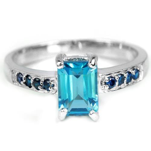 טבעת כסף משובצת טופז כחולה וזרקונים כחולים RG5628 | תכשיטי כסף 925 | טבעות כסף