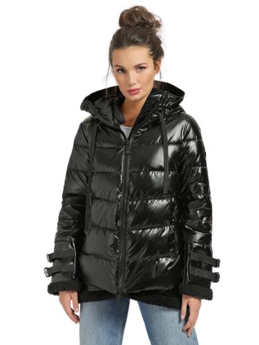 מעיל פוך שחור מבריק שילוב צמר  GUESS