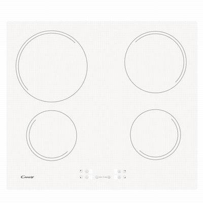 כיריים קרמיות קנדי חד פאזי תקע חשמל רגיל CANDY CH64CCW זכוכית לבנה