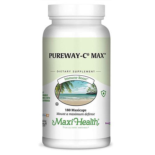 --- ויטמין C לא חומצי  עם ביופלבנואידים 500 PureWay-C  -- מכיל 180 טבליות, Maxi Health